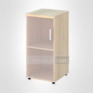 Шкаф узкий низкий левый со стеклом без рамы офисный для персонала