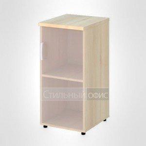 Шкаф узкий низкий правый со стеклом без рамы офисный для персонала