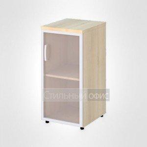 Шкаф узкий низкий правый со стеклом в раме офисный для персонала 19.73 + 19.86 R