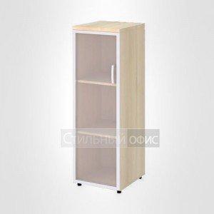 Шкаф узкий средний левый со стеклом в раме офисный для персонала