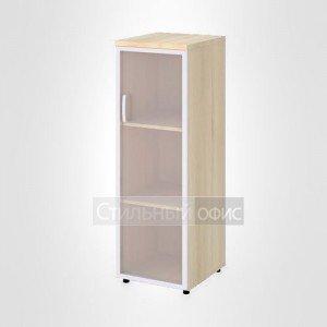 Шкаф узкий средний правый со стеклом в раме офисный для персонала 19.74 + 19.87 R