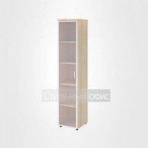 Шкаф узкий высокий со стеклом в раме левый офисный для персонала