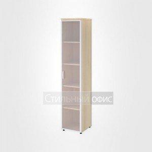 Шкаф узкий высокий со стеклом в раме правый офисный для персонала