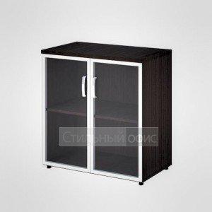 Шкаф широкий низкий со стеклом в раме офисный для персонала 20.72 + 20.86