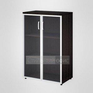 Шкаф широкий средний со стеклом в раме офисный для персонала 20.75 + 20.87