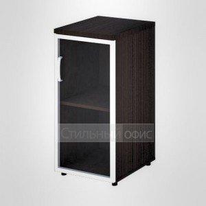 Шкаф узкий низкий правый со стеклом в раме офисный для персонала 20.71 + 20.86 R