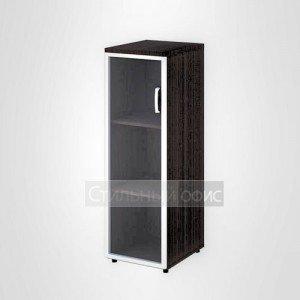 Шкаф узкий средний левый со стеклом в раме офисный для персонала 20.74 + 20.87 L