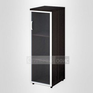Шкаф узкий средний правый со стеклом в раме офисный для персонала 20.74 + 20.87 R