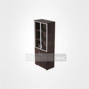 Шкаф высокий широкий со стеклом и глухими дверьми для персонала 20.78 + 20.83 + 20.87