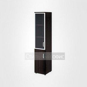 Шкаф высокий узкий левый полузакрытый со стеклом в раме офисный для персонала 20.77 + 20.83 + 20.87 L