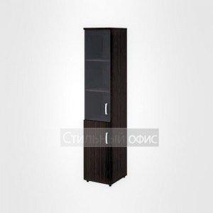 Шкаф высокий узкий левый полузакрытый со стеклом в раме офисный для персонала 20.77 + 20.83 + 20.90 L