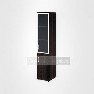 Шкаф высокий узкий правый полузакрытый со стеклом в раме офисный для персонала 20.77 + 20.83 + 20.87 R