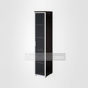 Шкаф высокий узкий со стеклом в раме правый офисный для персонала 20.77 + 20.88 R