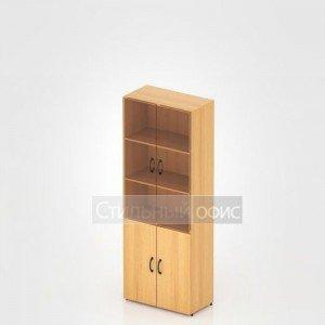 Шкаф высокий закрытый со стеклом для офиса