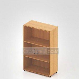 Шкаф низкий закрытый со стеклом для офиса
