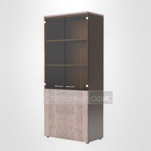 Шкаф высокий со стеклом комбинированный офисный для сотрудников