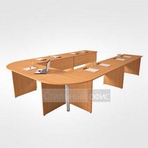 Стол переговорный офисный для персонала в сборе 22.01.х 5 шт + 22.62.х 2 шт + 22.40.1 2 шт + 22.73.8 2 шт