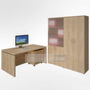 Кабинет руководителя со шкафом для документов и гардеробом акация LT-A16 + LT-TM + LT-G2 + LT-ST 1.2 Riva