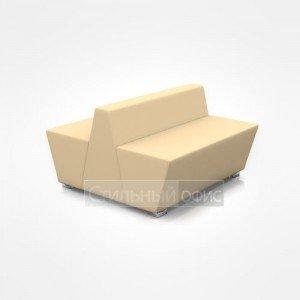 Диван двухместный сдвоенный мягкий для отдыха с низкой спинкой