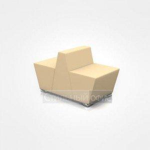 Кресло сдвоенное офисное мягкое для отдыха с низкой спинкой