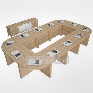 Мебель для переговорной комнаты акация LT-TS 4.2 white 1шт.+NZ 60-100 6шт.+LT-SРU 4шт.+LT-SPS 8шт. Riva