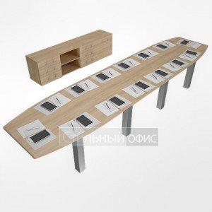 Мебель для переговорной акация LT-TS 4.1 1шт.+NZ 60-100 6шт.+LT-SO 2шт.+LT-SV 1шт.+LT-710 8шт. алюминий Riva