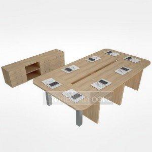 Мебель для переговорной руководителя акация LT-TS 4.1 1шт.+NZ 60-100 6шт.+LT-SPS 4шт.+LT-SРО 2шт.+LT-710 4шт. алюминий Riva