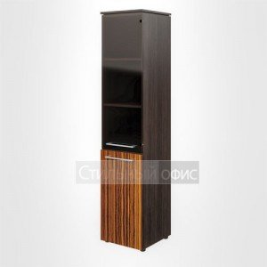 Шкаф высокий узкий со стеклом и глухими дверьми левый офисный для руководителя MHC 42.2 L