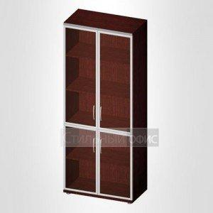 Офисный шкаф закрытый со стеклом в раме