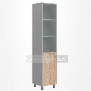 Шкаф высокий со стеклом узкий левый офисный для сотрудников