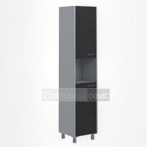 Шкаф высокий узкий с открытой нишей левый офисный для сотрудников
