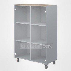 Шкаф средний со стеклом широкий офисный для сотрудников