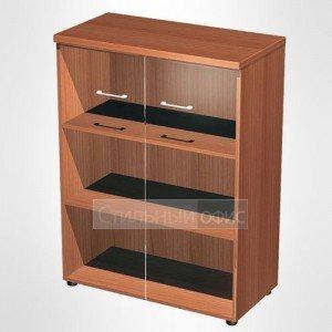 Шкаф для документов средний со стеклянными дверьми в офис для кабинета руководителя 969