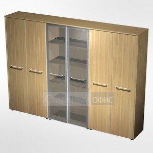 Шкаф комбинированный (закрытый - стекло - одежда) в кабинет руководителя МЕ 375 Сторосс