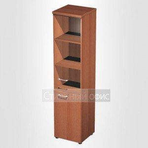 Шкаф для документов узкий со стеклянной дверью в офис для кабинета руководителя 986
