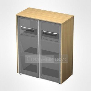 Шкаф для документов средний со стеклянными дверьми в кабинет руководителя МЕ 312 Сторосс