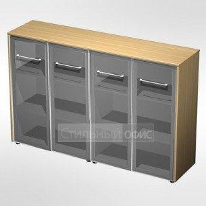 Шкаф для документов со стеклянными дверьми (стенка из 2 шкафов) в кабинет руководителя МЕ 323 Сторосс