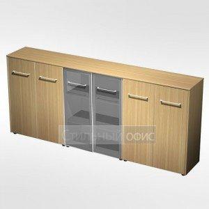 Шкаф комбинированный средний(закрытый - стекло - закрытый) в кабинет руководителя МЕ 338 Сторосс