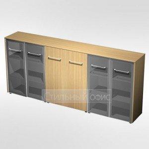 Шкаф комбинированный средний(стекло - закрытый - стекло)в кабинет руководителя МЕ 339 Сторосс