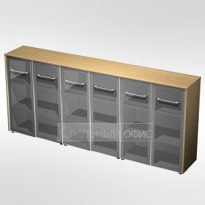 Шкаф для документов со стеклянными дверьми (стенка из 3 шкафов) в кабинет руководителя МЕ 340 Сторосс