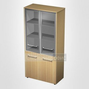 Шкаф для документов со стеклянными дверьми в кабинет руководителя МЕ 343 Сторосс
