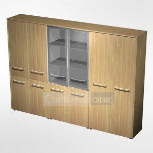Шкаф комбинированный ( одежда - стекло - закрытый, 4 двери) в кабинет руководителя МЕ 377 Сторосс