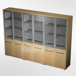 Шкаф для документов со стеклянными дверьми (стенка из 3 шкафов) в кабинет руководителя МЕ 378 Сторосс