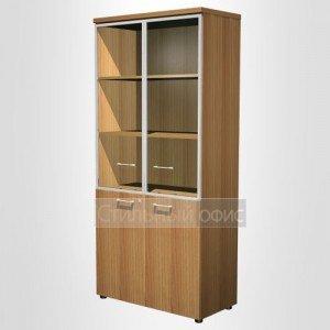 Шкаф для документов со стеклянными дверьми в рамке в офис для кабинета руководителя 0783