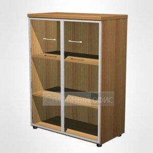 Шкаф для документов средний со стеклянными дверьми в рамке в офис для кабинета руководителя 769