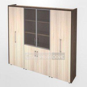 Шкаф для документов и одежды в кабинет руководителя Композиция 7 темный Сенатор