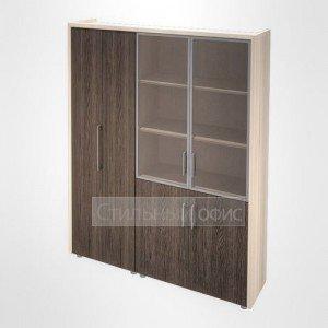 Шкаф для одежды и витрина в кабинет руководителя Композиция 5 светлый Сенатор