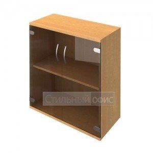 Шкаф низкий широкий со стеклянными дверками