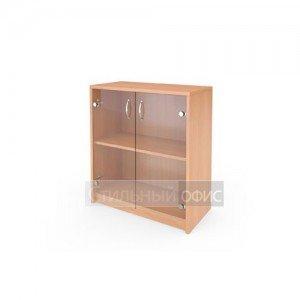 Шкаф низкий со стеклянными прозрачными дверками