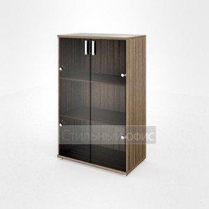 Шкаф широкий средний со стеклянными дверками